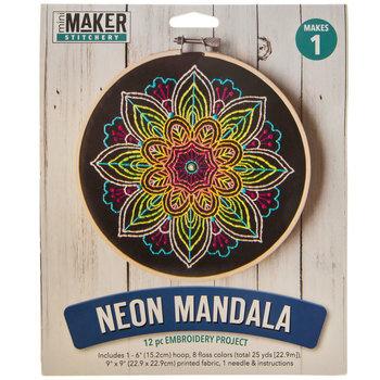 Neon Mandala Embroidery Project Kit