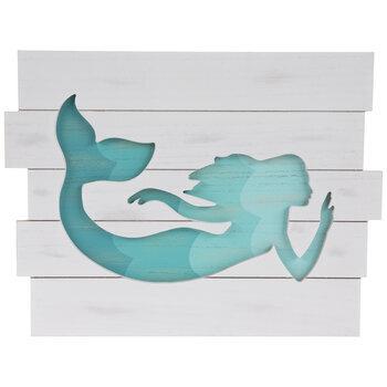 Mermaid Cutout Wood Wall Decor