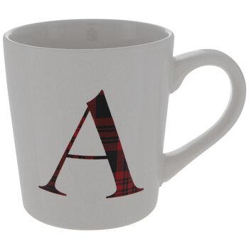 Red Plaid Letter Mug - A