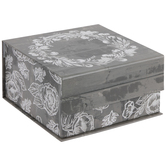 Wood Look Floral Square Box