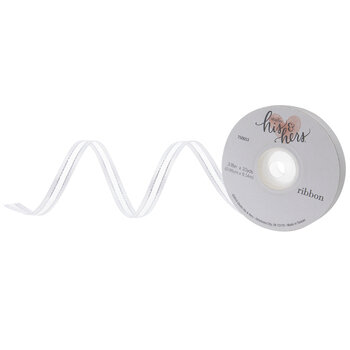 "White & Silver Sheer Satin Edge Ribbon - 3/8"""