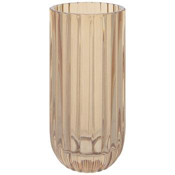 Yellow Ribbed Glass Vase