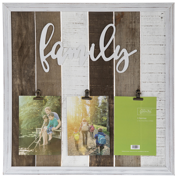 Striped Family Wood Clip Collage Frame