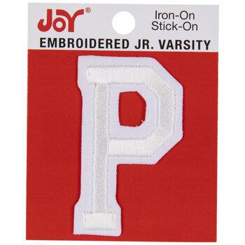 """White Junior Varsity Letter Iron-On Applique P - 2"""""""