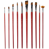 Orange Taklon Acrylic & Watercolor Paint Brushes - 10 Piece Set