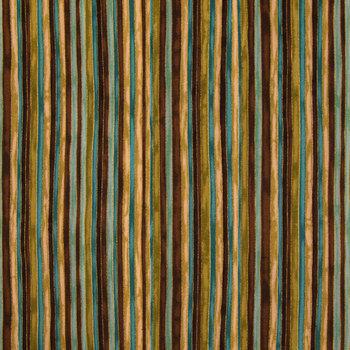 Brown & Green Multi Striped Cotton Calico Fabric