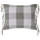 Green & White Checkered Fringe Pillow