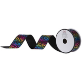 Rainbow Leopard Print Wired Edge Ribbon - 1 1/2""