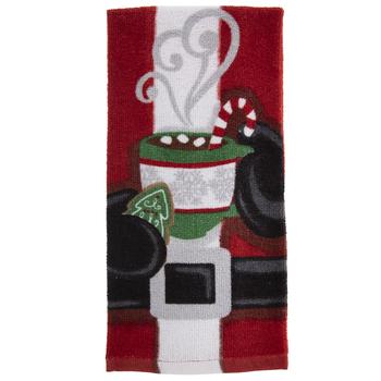 Santa Holding Hot Cocoa Kitchen Towel