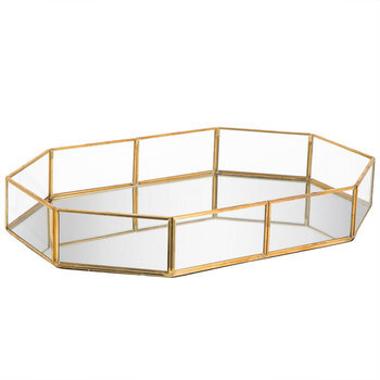 Ornate Gold Edged Mirrored Glass Tray