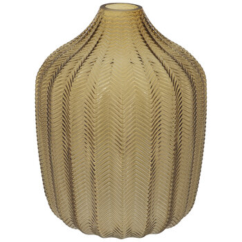 Yellow Ridged Chevron Glass Vase