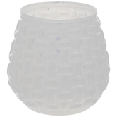 White Opal Weave Glass Candle Holder