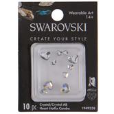 Crystal & Crystal AB Swarovski Heart Hot Fix Crystals