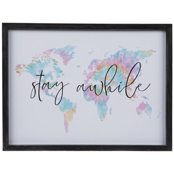 Stay Awhile World Map Wood Wall Decor