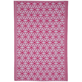 White & Pink Floral Synthetic Rug