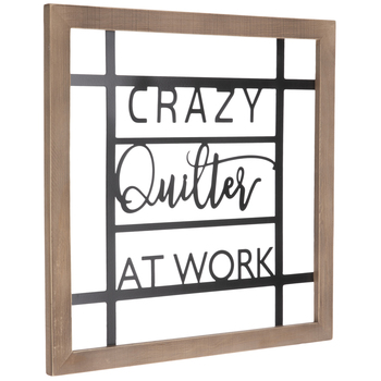 Crazy Quilter At Work Metal Wall Decor
