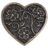Antique Bronze Floral Heart Metal Knob