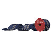 """Navy & Gold Merry Christmas Wired Edge Ribbon - 2 1/2"""""""