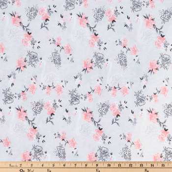 Gray Swan & Floral Knit Fabric