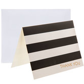 Black & White Striped Thank You Cards