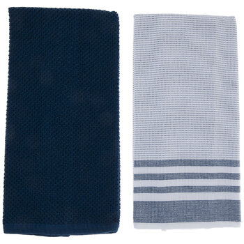 Navy Solid & Striped Kitchen Towels