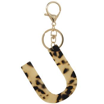 Leopard Print Letter Keychain - U