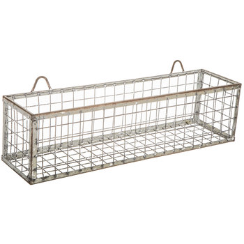Distressed Galvanized Metal Wall Basket