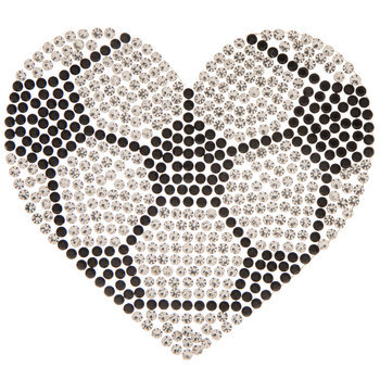 Soccer Heart Rhinestone Iron-On Applique
