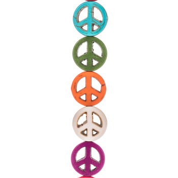 Dyed Howlite Peace Sign Bead Strand