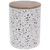 White, Gray & Gold Terrazzo Canister