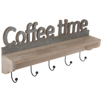 Coffee Time Wood Wall Shelf With Hooks