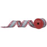 "Red Plaid & Gray Stripe Wired Edge Ribbon - 2 1/2"""