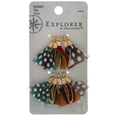 Bright Polka Dot Feather Charms