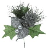 Silver Glitter Pine & Pear Pick