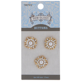 Ornate Rhinestone Pearl Buttons - 17mm