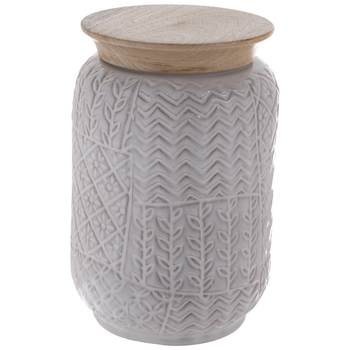 Gray Geometric Mosaic Canister