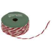 Red & Natural Twisted Jute Ribbon - 1/8""
