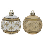 Gold & Silver Beaded Ball Ornaments