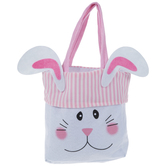 Pink Striped Felt Bunny Bag
