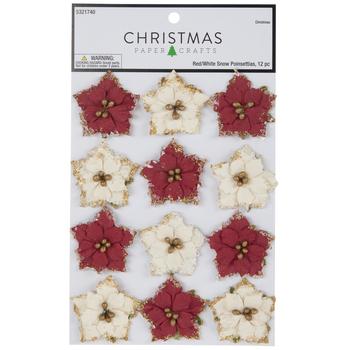 Red & White Poinsettia Embellishments