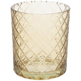 Brown Diamond Pattern Glass Candle Holder