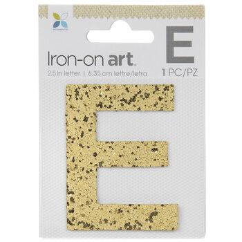 "Gold Glitter Letter Iron-On Applique E - 2 1/2"""