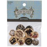 Black Vintage Print Wood Buttons