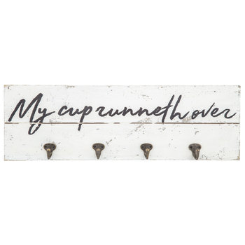 My Cup Runneth Over Wood Wall Decor With Hooks