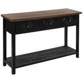 Black Floral Wood Console Table