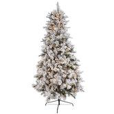 Fast Shape Flocked Ponderosa Pine Pre-Lit Christmas Tree - 9'