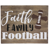 Faith Family Football Wood Decor