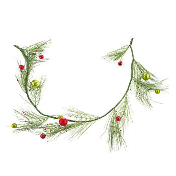 Sparkling Pine Garland With Ornaments