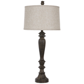 Wood Look Ridged Finial Lamp