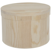 Wood Round Box With Hinged Lid